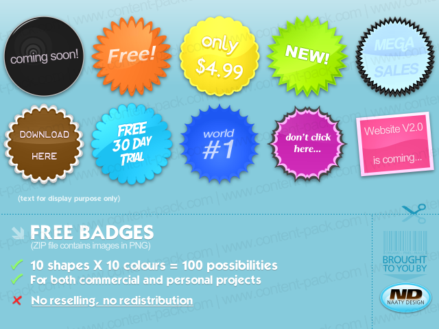 100 royalty free badges