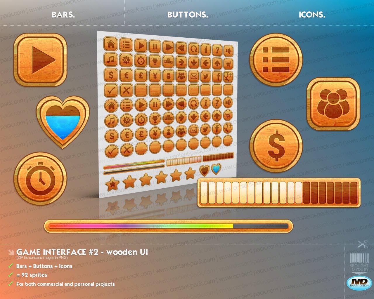 Game Interface Volume 2 Wooden Ui
